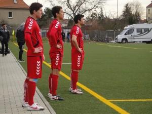 Wieder dabei: Kay Druschky, Kim Dong Min und Enes Uzun vor ihrer Einwechslung gegen Torgelow