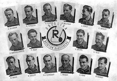Die Babelsberger Rotations-Elf der 1950er Jahre mit Klaus Selignow (links oben).